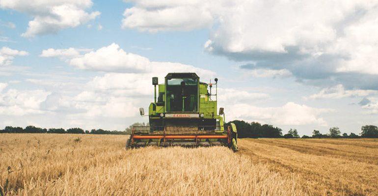 tractor in field under blue sky